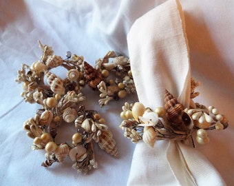 Bead and Shell Napkin Rings Set of 4