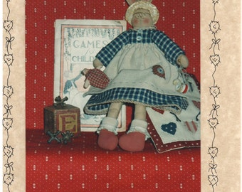 """1993 - Rag-A-Muffins # 7 Vintage Sewing Pattern Elsie 12"""" Bunny Rabbit Quilt Patchwork Stuffed Animal Home Decor Crafts Gift Doll Uncut"""