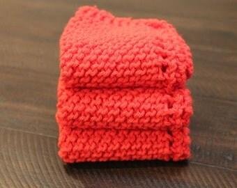 Hand Knitted Cotton Dish Cloths, Dish Rags, Red Sugar'n Cream Yarn, Kitchen Wash Cloths, washcloths, dishcloths