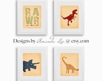 Dinosaur Art Print - Set of four 8x10 - TRex Triceratops - Designer Set 4