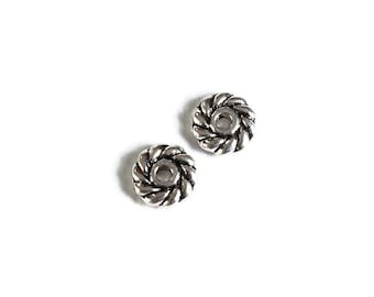 6mm Wheel round spacers - Mini spacers beads - antique silver round beads  - Metal spacer beads (1734) - Flat rate shipping