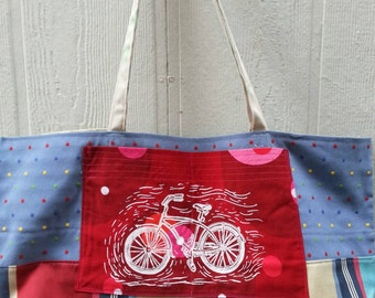 Tote bag handmade with upcycled recycled upholstery fabric samples pockets washable ooak one of a kind ecofriendly reusable shopping bags