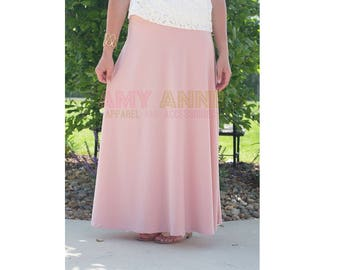 Solid Blush Women's Pink Knit Maxi Skirt Long Modest Slimming Custom Wedding Bridesmaid Apparel Light dusty Pink