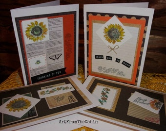 Sunflower Cards, Set of 4 Cards, Watercolor Cards, Best Wishes, Get Well Soon, Thank You, Thinking of You, Sunflowers, ArtFromTheCabin