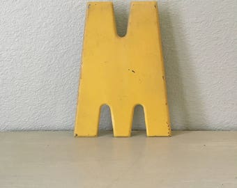 "Vintage Letter M / Chippy Yellow Metal / Marquee / Industrial Sign / 10"" Tall / Alphabet Letter / Wedding Sign Display / Home Decor"