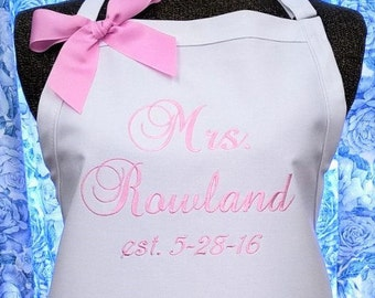 Personalized Apron Bridal Gift Housewarming Anniversary Birthday