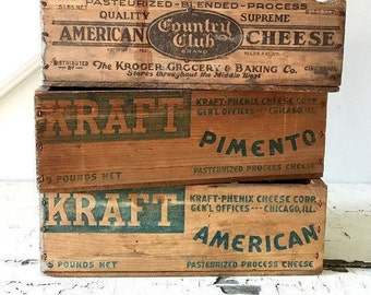 Vintage Cheese Box Wood Box Kraft Country Club
