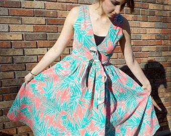 Miami Palms Wrap Dress 1980s M