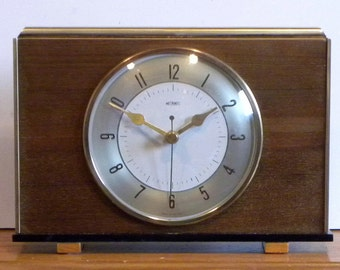 Recycled Metamec Clock - Battery Mantel Shelf Clock - 1970's Wooden Shelf Clock
