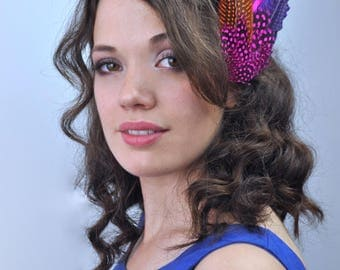 Bright Feather Hair Clip Fascinator in Pink, Orange and Purple