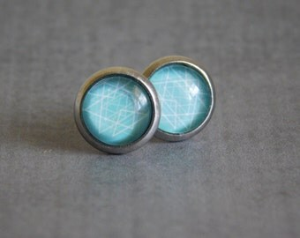 Geometric Stud Earrings : Egg Blue Esoteric design