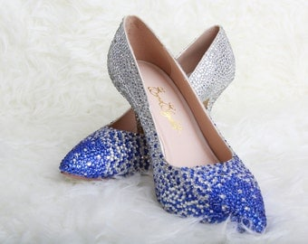 Wedding Shoes, Bridal Shoes, Ombre Wedding, Crystal Wedding Shoes, Crystal Heels, Custom Wedding Shoes, Blue Wedding