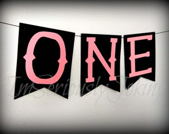 One banner-1st Birthday Banner-Cake smash-Baby girl birthday-Little MIss Party-Birthday banner-party bunting-Party Banner