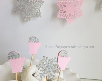 Snowflakes and Mittens Cupcake Toppers | Glitter Snowflake Party | Snowflake 1st Happy Birthday Decor |Winter Wonderland Party