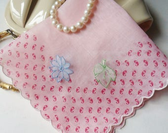 Pink Hanky with Attached Flowers and Leaves