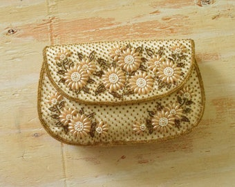 Vintage 1950's Floral Beaded Clutch | Pearl Bead Embroidered Clutch