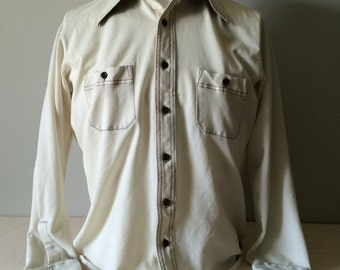 Retro 1970s polyester butterfly collar shirt cream with brown stitching and buttons. Made by Royal Knight
