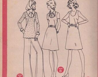 70s Simple A-line Dress or Top & Pants Pattern McCalls 3653 Size 14 Uncut
