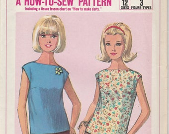 1960s Simple Blouse Pattern Simplicity 6596 Size 18