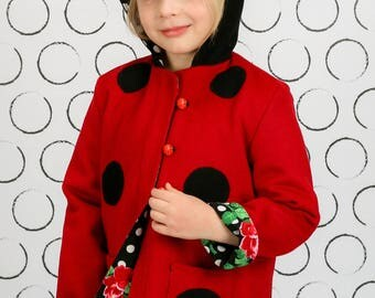 Ladybug Coat, Girls Coat in Fleece, Wool or Lightweight Twill for Fall or Spring,  Girls Character Jacket, Wild & Woolly