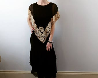 Vintage 1920s 1930s silk crepe and ecru lace black dress size xs small