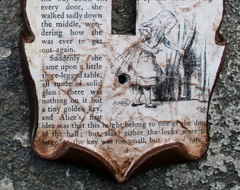 Alice in Wonderland Rabbit Hole Decoupage Library Book Switch Plate Outlet Cover