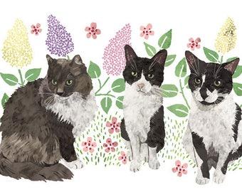 Custom Pet Portrait - Three Pets - Decorative Background
