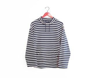 vintage sweatshirt / striped / breton / nautical / 1990s navy striped Saint James sweatshirt Medium