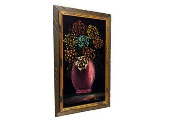 Vintage Black Velvet Painting - Vintage Flowers Bouquet, Flowers Wall Art, Black Velvet & Sequins, Mid Century Modern, Wood Carved Frame