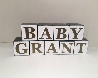 Baby Name Blocks, Photo Prop, Baby Wood Blocks, Black and White with Gold Letters