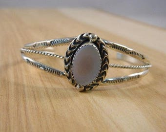 Vintage Native American Mother of Pearl Cuff Bracelet / Sterling Silver 1970s MOP Shell Cuff / Handcrafted Indian Bangle