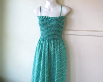 Fit & Flare Green/Blue Bohemian Sundress; Puckered Bodice; Ruffle Hem; Women's Small; Vintage I Magnin Cotton Maxi Summer Dress