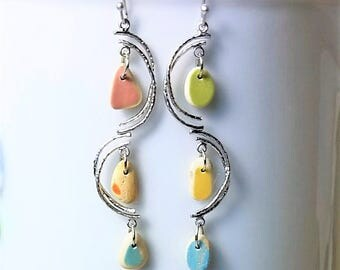 Genuine Beach Sea Glass Earrings - Pink  Orange  Yellow  Turquoise and Lime Pottery Shard Tinies