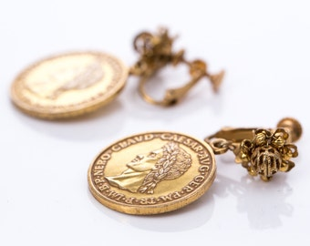 Vintage Miriam Haskell Roman Coin Screw Back Earrings