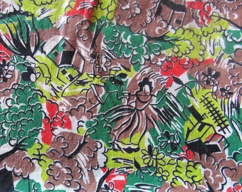 vintage feed sack fabric -- trees, ladies dancing and houses novelty print