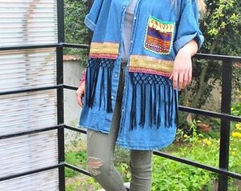 chemise vintage jean broderies ethnique, franges
