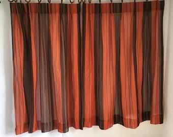"""Vintage Curtains, Vintage Drapery, Orange and Brown Mesh Curtains, 36"""" by 56"""", Vintage Curtain Pair"""