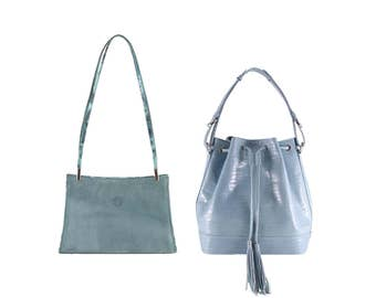 Suede leather shoulder bag YVETT, bucket bag SOPHIE // blue, greyish (Italian calf skin) - FREE shipping, unique bag