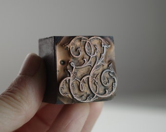 Antique Printing House Monogram Copper Block Letters GS / SG