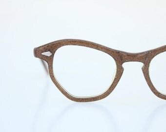Vintage 50's Copper Glitter Cat Eyeglasses Frames