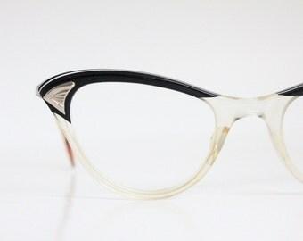 Vintage 50's Black 12K Cat Eye Eyeglasses
