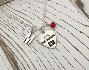 Personalized I Love Photography Necklace