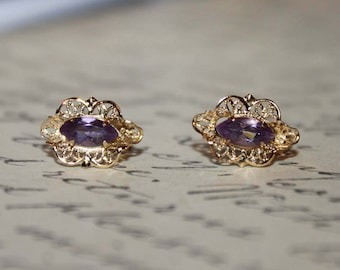 14K Yellow Gold Filigree with Amethyst Stud Earrings