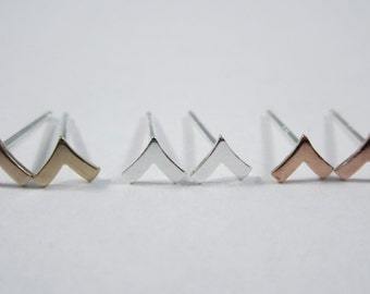 Chevron Studs - Sterling Silver, Brass, Copper