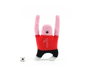 Soccer Player - soft knitted lambswool toy, plush toy