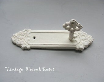 Door Plate Skeleton Key Wall Hook Cast Iron Creamy White Pink Distressed Baby Romantic Shabby French Cottage Curtain TieBack PICK YOUR COLOR