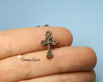 10 Cross Charm Antique Copper Tone 18 x 11 mm -   cg252