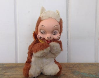 "Vintage Rushton Chipmunk Rubber Face Toy Retro 1960's Stuffed Animal 6 1/2"" Tall"