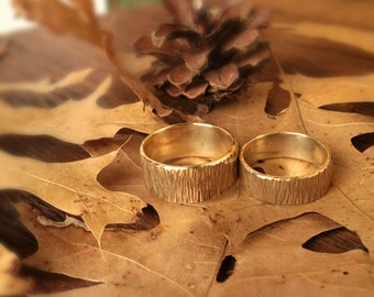 Rings Wedding Set Woodsy Look Hammered Brass Band Rings Rustic His Hers  WRS#100B