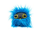 Shaggy Blue Nugget with Yellow Eyes Plushie Cool Critter